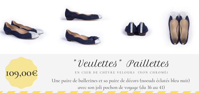Ballerine Veulettes Paillettes Maison Castille en cuir bleu marine et argent