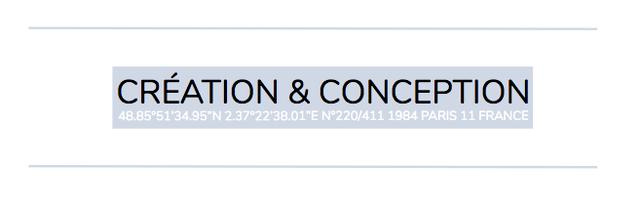 "CREATION & CONCEPTION 48.85951'34.95'N2.37922'38.01""EN N9220/411 1984 PARIS 11 FRANCE"