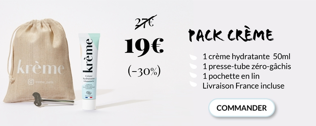 CREME 1 creme hydratante 50ml kreme -30%) 1 presse-tube zero-gachis Creme hydratante 1 pochette en lin kreme vitaminee Livraison France incluse BIO - COMMANDER