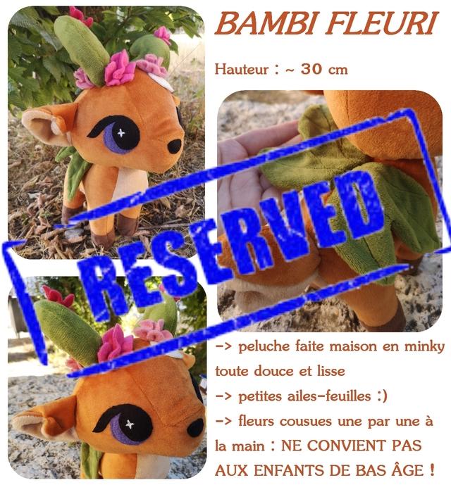 BAMBI FLEURI Hauteur 30 cm peluche faite maison en minky toute douce et lisse -> petites ailes-feuilles :) - fleurs cousues une par une a la main NE CONVIENT PAS AUX ENFANTS DE BAS AGE