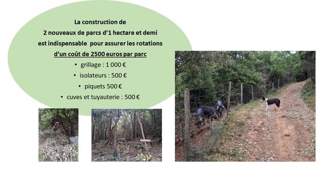 La construction de 2 nouveaux de parcs d'1 hectare et demi est indispensable pour assurer les rotations d'un cout de 2500 euros par parc grillage : isolateurs : 500 piquets 500 € cuves et tuyauterie : 500 €