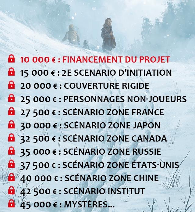 10 000 € : FINANCEMENT DU PROJET 15 000 € : 2E SCENARIO D'INITIATION 20 000 € : COUVERTURE RIGIDE € : PERSONNAGES NON-JOUEURS 27 500 € : SCENARIO ZONE FRANCE 30 000 € : SCENARIO ZONE JAPON 32 500 € : SCENARIO ZONE CANADA 35 000 € : SCENARIO ZONE RUSSIE 37 500 : SCENARIO ZONE ETATS-UNIS : 40 000 € : SCENARIO ZONE CHINE 42 500 € 42 : SCENARIO INSTITUT : 45 000 : MYSTERES.
