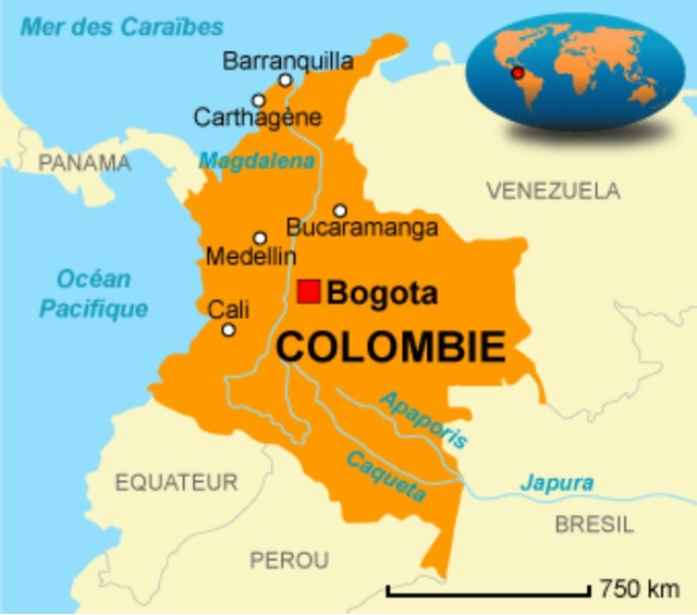 Mer des Caraibes Barranquilla Carthagene PANAMA Magdalena VENEZUELA Bucaramanga Medellin Ocean Bogota Pacifique Cali O COLOMBIE EQUATEUR Japura BRESIL PEROU 750 km