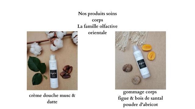 Nos produits soins corps La famille olfactive orientale datte gommage corps creme douche must & figue & bois de santal datte poudre d'abricot