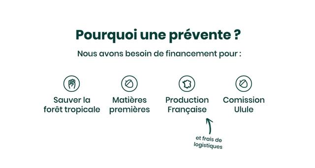 Pourquoi une prevente P Nous avons besoin de financement pour: Sauver la Matieres Production Comission foret tropicale premieres Francaise Ulule et frais de logistiques