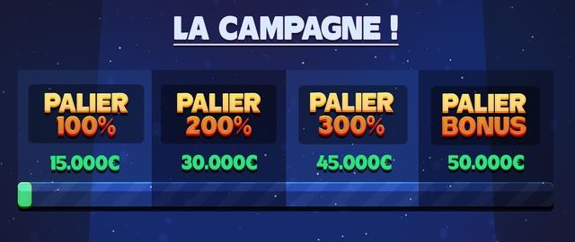 LA CAMPAGNE PALIER PALIER PALIER PALIER 100% 200% 300% BONUS 15.000C 30.0000 45.0000 50.000C