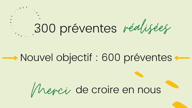 : 300 preventes Nouvel objectif : 600 preventes Merci de croire en nous