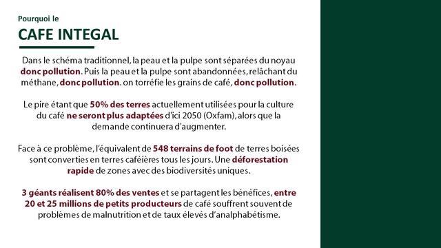 Pourquoi le CAFE INTEGAL Dans le schema traditionnel, la peau et la pulpe sont separees du noyau donc pollution. Puis la peau et la pulpe sont abandonnees, relachant du methane, pollution. on torrefie les grains de cafe, donc pollution. Le pire etant que 50% des terres actuellement utilisees pour la culture du cafe ne seront plus adaptees d'ici 2050 (Oxfam) alors que la demande continuera d'augmenter. Face a ce probleme, l'equivalent de 548 terrains de foot de terres boisees sont converties en terres cafeieres tous les jours. Une deforestation rapide de zones des uniques. 3 geants realisent 80% des ventes et se partagent les benefices, entre 20 et 25 millions de petits producteurs de cafe souffrent souvent de problemes de malnutrition et de taux eleves d'analphabetisme.