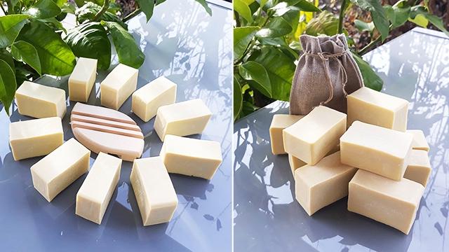 savon Le Castillan de Vert chez-soi avec pochette en lin et porte-savon en bois massif