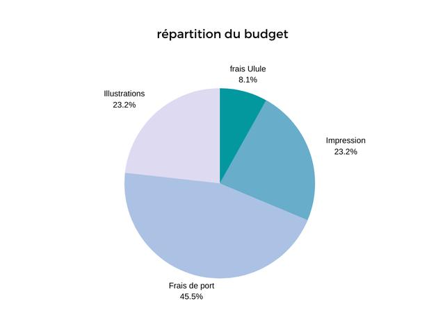 repartition du budget frais Ulule 8.1% lllustrations 23.2% Impression 23.2% Frais de port 45.5%