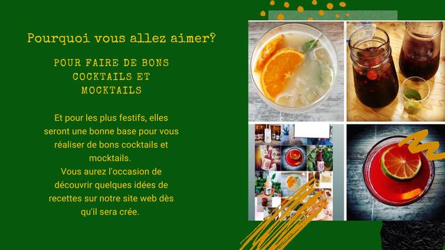 Pourquoi vous allez aimer? POUR FAIRE DE BONS COCKTAILS ET MOCKTAILS Et pour les plus festifs, elles seront une bonne base pour realiser de bons cocktails et mocktails. Vous aurez I'occasion de decouvrir quelques idees de recettes sur notre site web des qu'il sera cree.