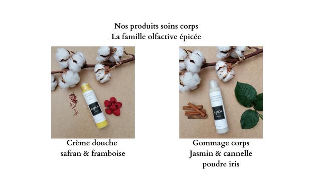 Nos produits soins corps La famille olfactive epicee Creme douche Gommage corps safran & framboise Jasmin & cannelle poudre iris