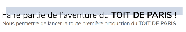 Faire partie de I'aventure du TOIT DE PARIS ! Nous permettre de lancer la toute premiere production du TOIT DE PARIS