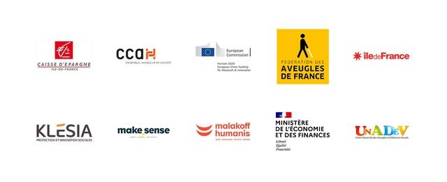 Logos de nos finançeurs : Caisse d'Epargne, CCAH, Commission Européenne, Fédération des Aveugles de France, Région Ile-de-France, KLESIA, Make Sense, Malakoff Humanis, Ministère de l'Economie et des Finances, UNADEV