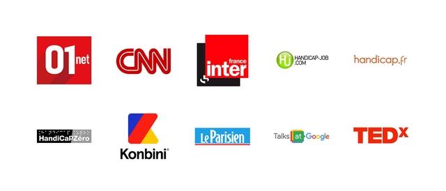 Logos : CNN, France Inter, Handicap zéro, Konbini, TED x,  Handicap.fr, Le parisien, Talks at google, 01.net, Handicap job.com