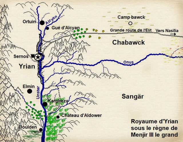 """Carte d'Yrian à l'époque du roman """"La paysanne"""""""
