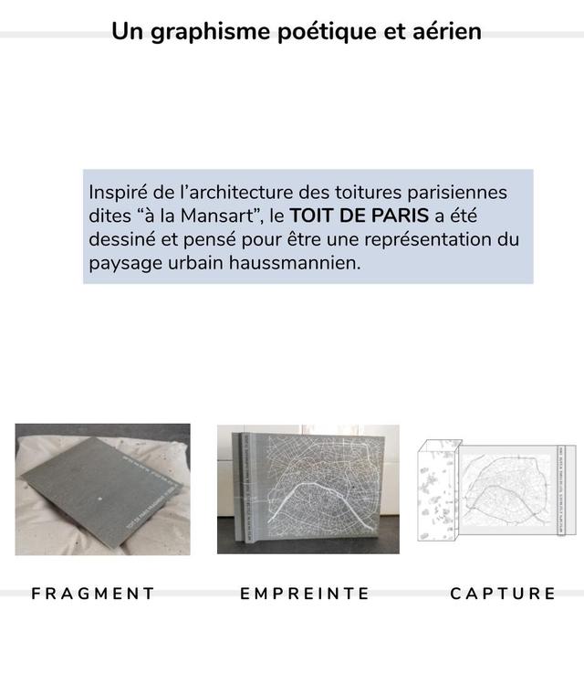 """Un graphisme poetique et aerien Inspire de I'architecture des toitures parisiennes dites """"a la Mansart"""", le TOIT DE PARIS a ete dessine et pense pour etre une representation du paysage urbain haussmannien. F FRAGMENT R A G M E N T E EMPREINTE M P R E N T E CAPTURE C A P T U E"""