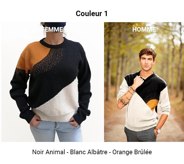 Couleur 1 EMME HOMME Noir Animal - Blanc Albatre - Orange Brulee