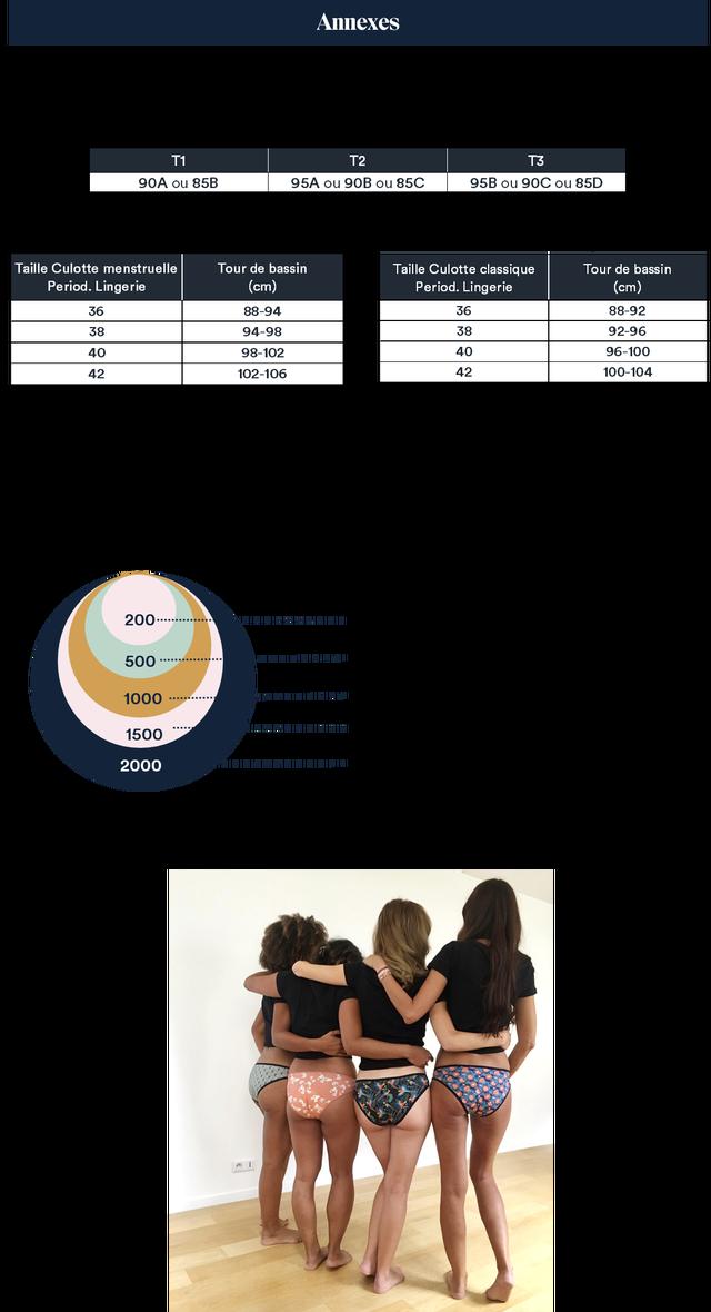 Annexes T1 T2 T3 90A ou 85B 95A ou 90B ou 85C 95B ou 90C ou 85D Taille Culotte menstruelle Tour de bassin Taille Culotte classique Tour de bassin Period. Lingerie (cm) Period. Lingerie (cm) 36 88-94 36 88-92 38 94-98 38 92-96 40 98-102 40 96-100 42 102-106 42 100-104 200 500 1000 1500 2000