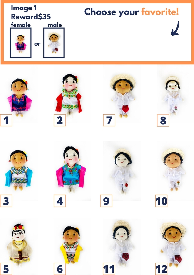 Image 1 Rewards $35 Choose your favorite! female male or 1 2 7 8 3 4 9 10 5 6 11 12