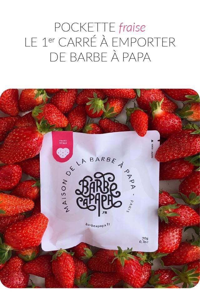 POCKETT fraise LE 1er CARRE A EMPORTER DE BARBE A PAPA PETALE BARBE .FR barbeapapaf 20g 0.702
