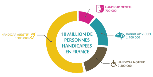 10 million de personnes handicapées en France : 700000 personnes handicapées mentales, 1,7 million de personnes déficientes visuelles, 2,3 millions de personnes handicapées moteur et 5,3 millions de personnes déficientes auditives