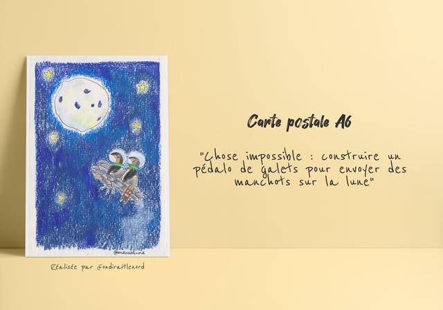 """Cante postale A6 """"those impossible construire pedalo de galets pour envoyer des manchots sur lune"""" @ondinaiteenend Realisee par Condiraitlenord"""