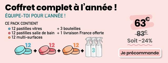 Coffret complet a I'annee EQUIPE-TO POUR L'ANNEE CE PACK CONTIENT 63 12 pastilles vitres + 3 bouteilles O 12 pastilles salle de bain + 1 livraison France offerte 83e 12 multi-surfaces Soit- 24% 12 + + 3 Je precommande