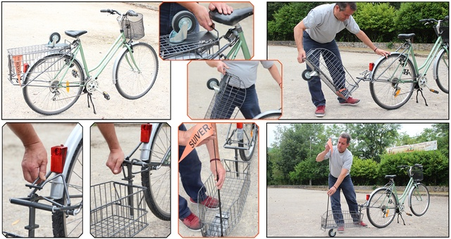D'un simple geste, vous pouvez replier le SUIVER © sur la roue arrière, et celle-ci se transforme en un porte-bagages fonctionnel.