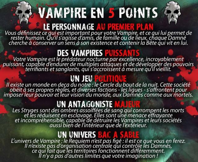 VAMPIRE EN 5 POINTS LE PERSONNAGE AU PREMIER PLAN Vous définissez ce qui est important pour votre Vampire, et ce qui lui permet de rester humain. Qu'il s'agisse d'amis, de famille ou de lieux, chaque Damné cherche à conserver un sens à son existence et contenir la Bête qui vit en lui. DES VAMPIRES PUISSANTS Votre Vampire est le prédateur nocturne par excellence, incroyablement puissant, capable d'endurer de multiples attaques et de développer des pouvoirs terrifiants et sanglants, qui s'accroissent à mesure qu'il vieillit. UN JEU POLITIQUE Il existe un monde en deça du : le Cercle du bout de la nuit. Cette société obéit à ses propres règles, et diverses factions - les ligues - s'affrontent pour imposer leur pouvoir et leur vision du monde, aux Damnés comme aux mortels. UN ANTAGONISTE MAJEUR Les Stryges sont des ombres assoiffées de sang qui corrompent les morts et les réduisent en esclavage. Elles sont une menace effrayante et capable de détruire les Vampires et leurs sociétés aussi bien de l'intérieur que de l'extérieur. UN UNIVERS BAC A SABLE L'univers de : le Requiem n'est pas figé: il est ce que vous en ferez. n'existe pas d'organisation centrale qui contrôle les Damnés, ce qui fait que les territoires fonctionnent différemment. n'y a pas d'autres limites que votre imagination !