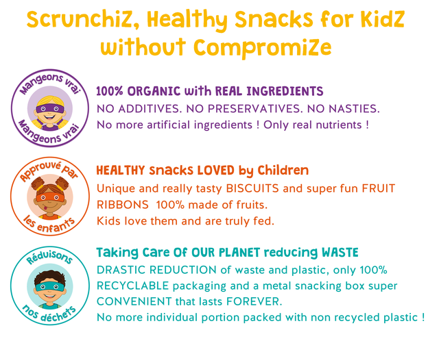 Scrunchiz, Healthy Snacks for Kidz without Compromize geons 100% ORGANIC with REAL INGREDIENTS NO ADDITIVES. NO PRESERVATIVES. NO NASTIES. No more artificial ingredients ! Only real nutrients ! HEALTHY snacks LOVED by Children Unique and really tasty BISCUITS and super fun FRUIT RIBBONS 100% made of fruits. enfan Kids love them and are truly fed. eduisons Taking care Of OUR PLANET reducing WASTE DRASTIC REDUCTION of waste and plastic, only 100% RECYCLABLE packaging and a metal snacking box super CONVENIENT that lasts FOREVER. No more individual portion packed with non recycled plastic !