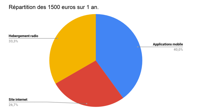 Repartition des 1500 euros sur 1 an. Hebergement radio 33,3% Applications mobile 40,0% Site internet 26,7%
