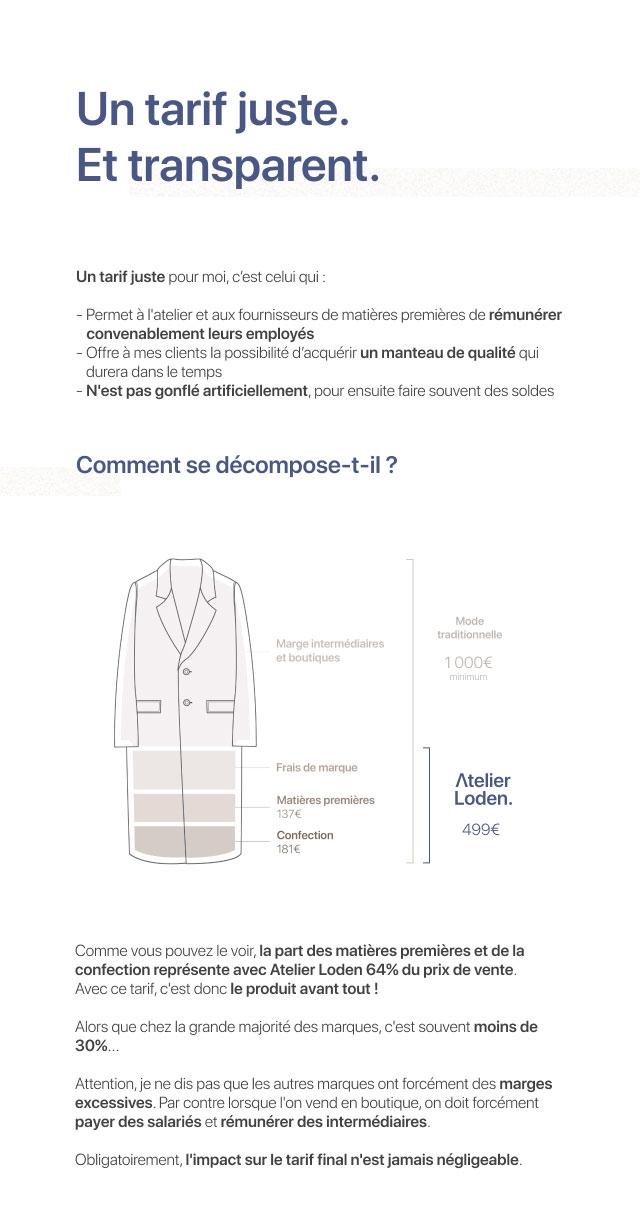 la transparence sur les coûts du manteau Atelier Loden