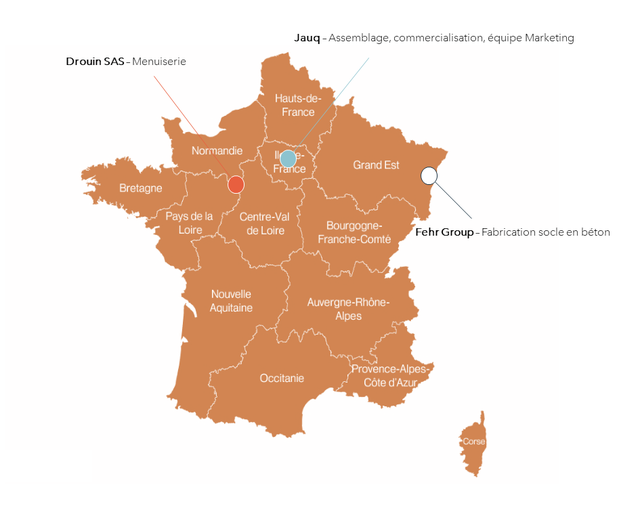 Jauq Assemblage, commercialisation, equipe Marketing Drouin SAS Menuiserie Hauts-de France Normandie France Grand Est Bretagne Pays de la Centre-Val Loire de Loire Bourgogne- Franche-Comte Fehr Group Fabrication socle en beton Nouvelle Aquitaine Auvergne-Rhone- Alpes Provence-Alpes Occitanie Cote d Azur Corse
