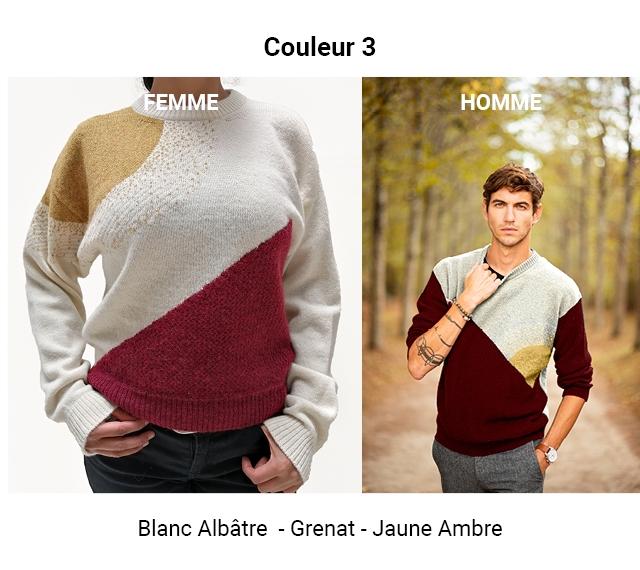 Couleur 3 FEMME HOMME Blanc Albatre - Grenat-Jaune - Ambre