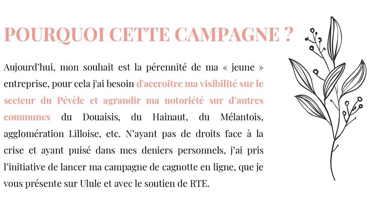 POURQUOI CETTE CAMPAGNE ? Aujourd'hui, mon souhait est la pérennité de ma << jeune >> entreprise, pour besoin d'accroitre ma visibilité sur le secteur du Pévèle et agrandir ma notoriété sur d'autres communes du Douaisis, du Hainaut, du Mélantois, agglomération Lilloise, etc. N'ayant pas de droits face a la crise et ayant puisé dans mes personnels, j'ai pris l'initiative de lancer ma campagne de cagnotte en ligne, que je vous présente sur Ulule et avec le soutien de RTE.