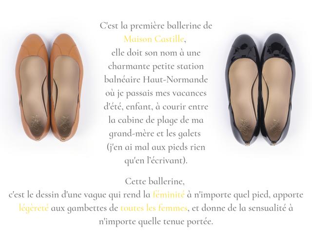 Ballerines Petites Dalles camel et noir en cuir lisse ou vernis confortable. chaussures fabriquées en France dans la Loire