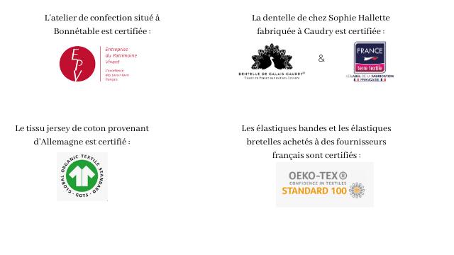 L'atelier de confection situe a La dentelle de chez Sophie Hallette Bonnetable est certifiee: fabriquee a Caudry est certifiee: Entreprise FRANCE du Patrimoine Vivat textile Le tissu jersey de coton provenant Les elastiques bandes et les elastiques d'Allemagne est certifie: bretelles achetes a des fournisseurs francais sont certifies: OEKO-TEX CONFIDENCE IN TEKTILES STANDARD 100