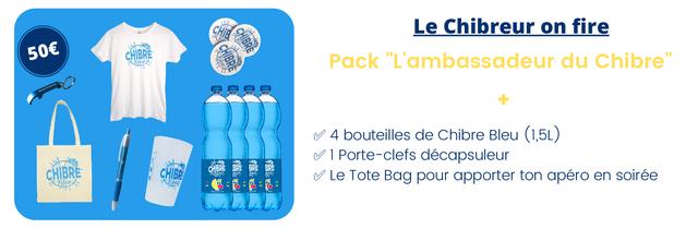 """Le Chibreur on fire CHIBRE Pack 'L'ambassadeur du Chibre"""" 4 bouteilles de Chibre Bleu (1,5L) 1 Porte-clefs decapsuleur CHIBRE Le Tote Bag pour apporter ton apero en soiree"""
