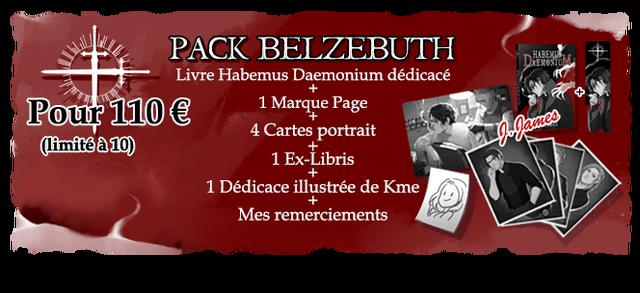 PACK BELZEBUTH Livre Habemus Daemonium dedicace Pour 110 1 Marque Page 4 Cartes portrait 1 Ex-Libris 1 Dedicace illustree de Kme Mes remerciements