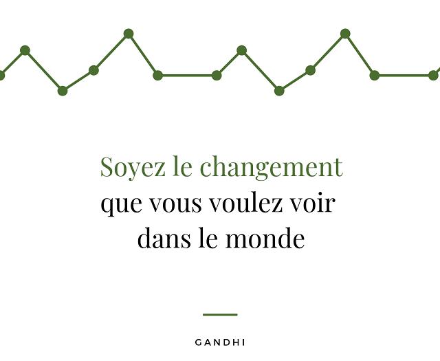 Citation Gandhi : Soyez le changement que vous voulez voir dans le monde
