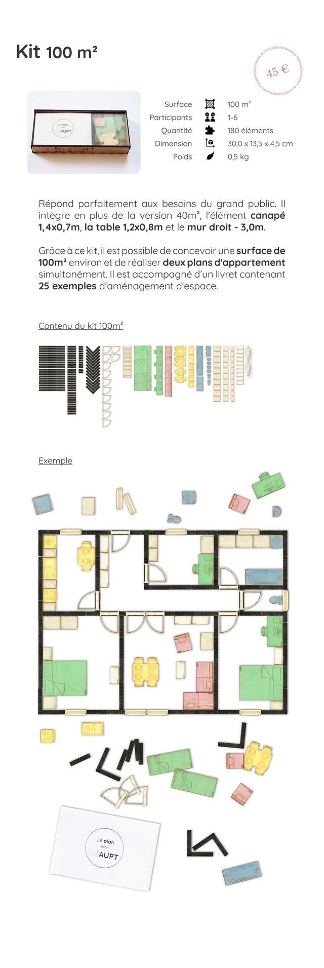 Kit 100 m2 45 Surface 100 m? Participants 1-6 AUPT Quantite 180 elements Dimension 30,0 X 13,5 X 4,5 cm Poids 0,5 kg Repond parfaitement besoins du grand public. II integre en plus de la version 40m?, I'element canape 1,4x0,7m la table 1,2x0,8m et le mur droit - 3,0m. Grace a e kit il est possible de concevoir une surface de 100m2 environ et de realiser deux plans d'appartement simultanement. II est accompagne d'un livret contenant 25 exemples d'amenagement d'espace. Contenu du kit 100m? Exemple plan AUPT