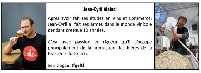Jean-Cyril Alafaci Apres avoir fait ses etudes en Vins et Commerce, Jean-Cyril a fait ses armes dans le monde vinicole pendant presque 10 annees. C'est avec passion et rigueur qu'il s'occupe principalement de la production des bieres de la GRILEN Brasserie du Grillen. Son slogan: S'gelt!