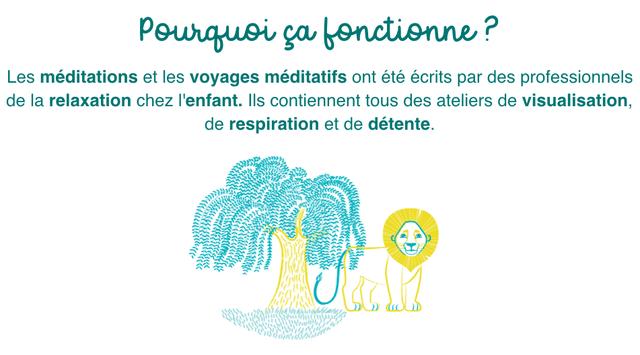 Pourquei bonctionne P Les meditations et les voyages meditatifs ont ete ecrits par des professionnels de la relaxation chez I'enfant. contiennent tous des ateliers de visualisation, de respiration et de detente. ))