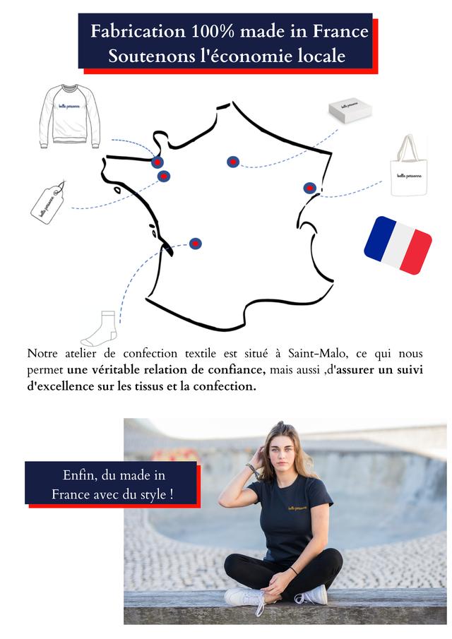 Fabrication 100% made in France Soutenons l'economie locale belle Notre atelier de confection textile est situe a Saint-Malo, ce qui nous permet une veritable relation de confiance, mais aussi ,d'assurer un suivi d'excellence sur les tissus et la confection. Enfin, du made in France avec du style belle persaurne