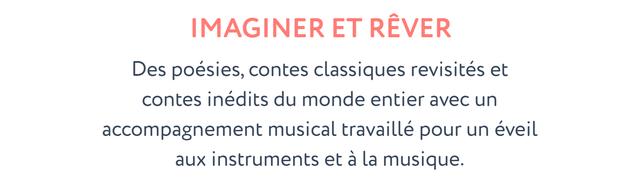 IMAGINER ET REVER Des poesies, contes classiques revisites et contes inedits du monde entier avec un accompagnement musical travaille pour un eveil instruments et a la musique.