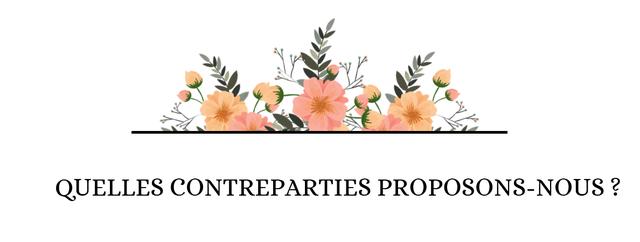 QUELLES CONTREPARTIES PROPOSONS-NOUS