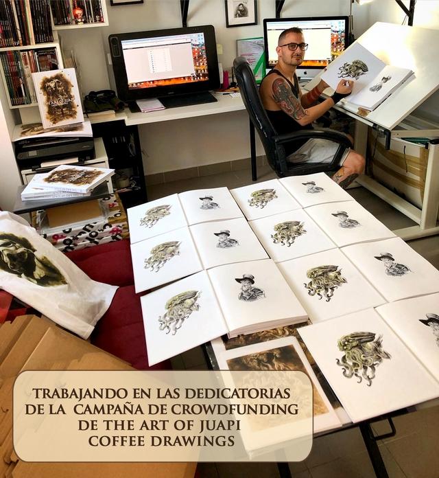 TRABAJANDO EN LAS DEDICATORIAS DELA CAMPANA DE CROWDFUNDING DE THE ART OF JUAPI COFFEE DRAWINGS