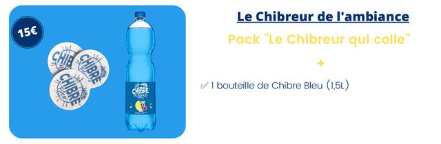 """Le Chibreur de I'ambiance 156 Pack """"Le Chibreur qui colle"""" 1 bouteille de Chibre Bleu (1,5L)"""