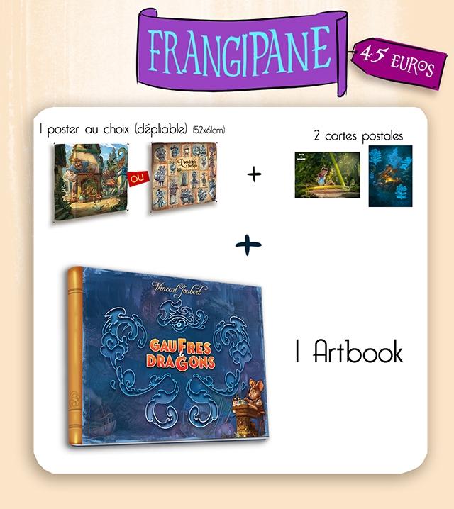 FRANGIPANE 45 EURos I poster choix (deploble) 52x6lcm) 2 cartes postoles + + GAUFRE GAU FRES I Artbook DRAGGONS